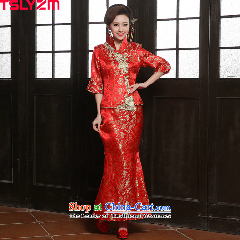 Tslyzm2015 new autumn and winter stylish marriages cheongsam long-kyung tea drink use Chinese cheongsam dress skirt crowsfoot cheongsam dress red L