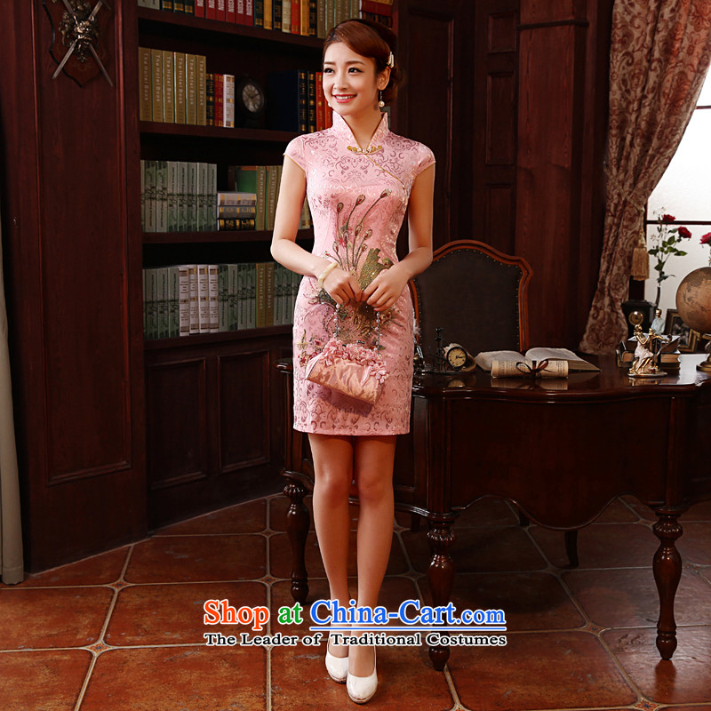 Morning Special Land summer 2014 new improved Stylish retro short of qipao suits pink embroidered fine white GP3350 Bong-pink phoenix)?XL