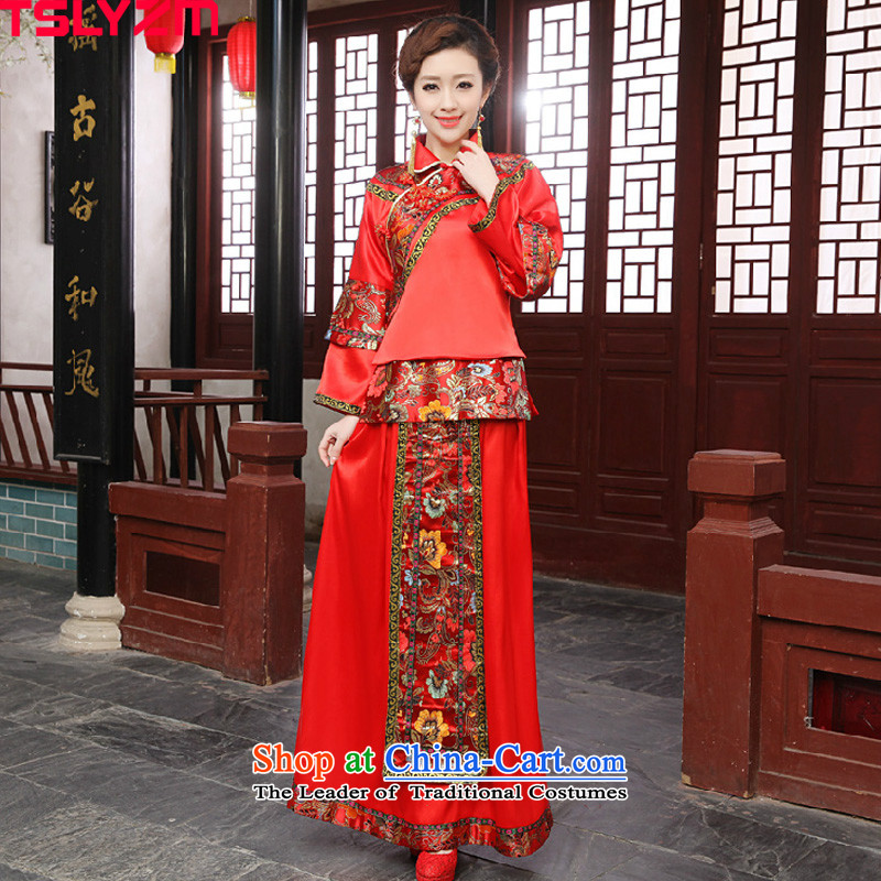 The bride wedding dress Sau Wo service-hi-soo groups serving kimono with Bong-sam Hui Dragon Chinese Dress costume use Tang dynasty married clothes with 2015 autumn and winter new red?L