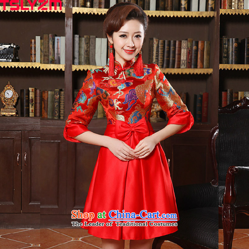 Tslyzm2015 autumn and winter new wedding dress long-sleeved pregnant women improved qipao bows service, bridal dresses skirt embroidery Red Red燤