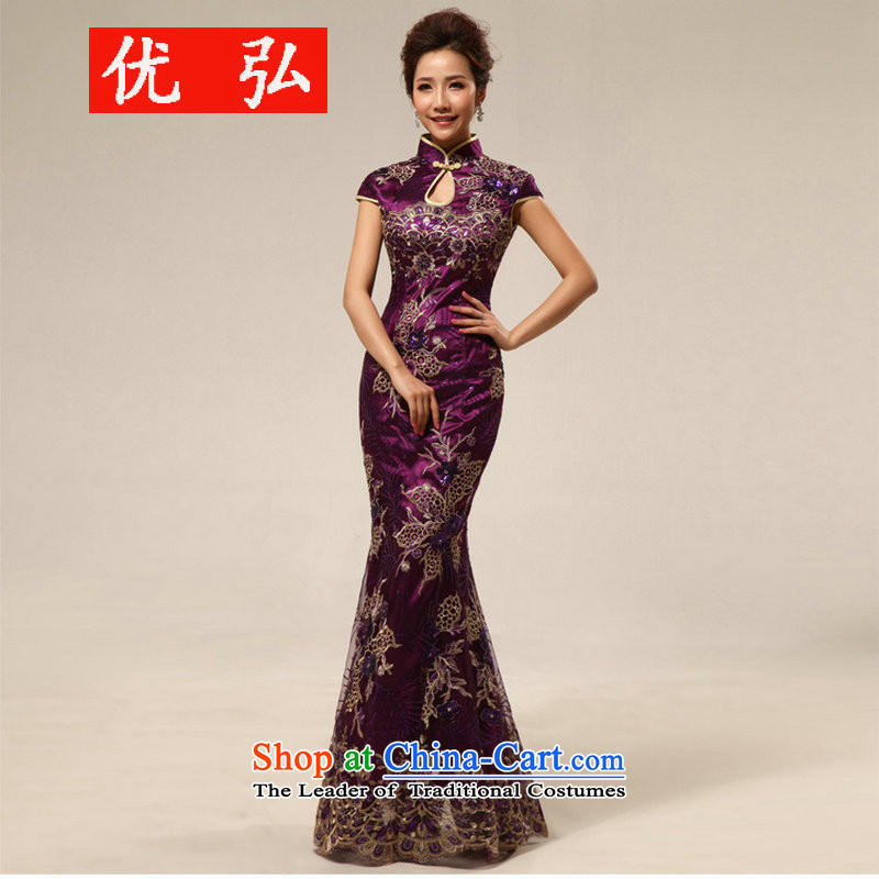 Optimize the NEW Summer Hong-marriage retro improved courtesy service etiquette cheongsam dress XS8188 PURPLE燬