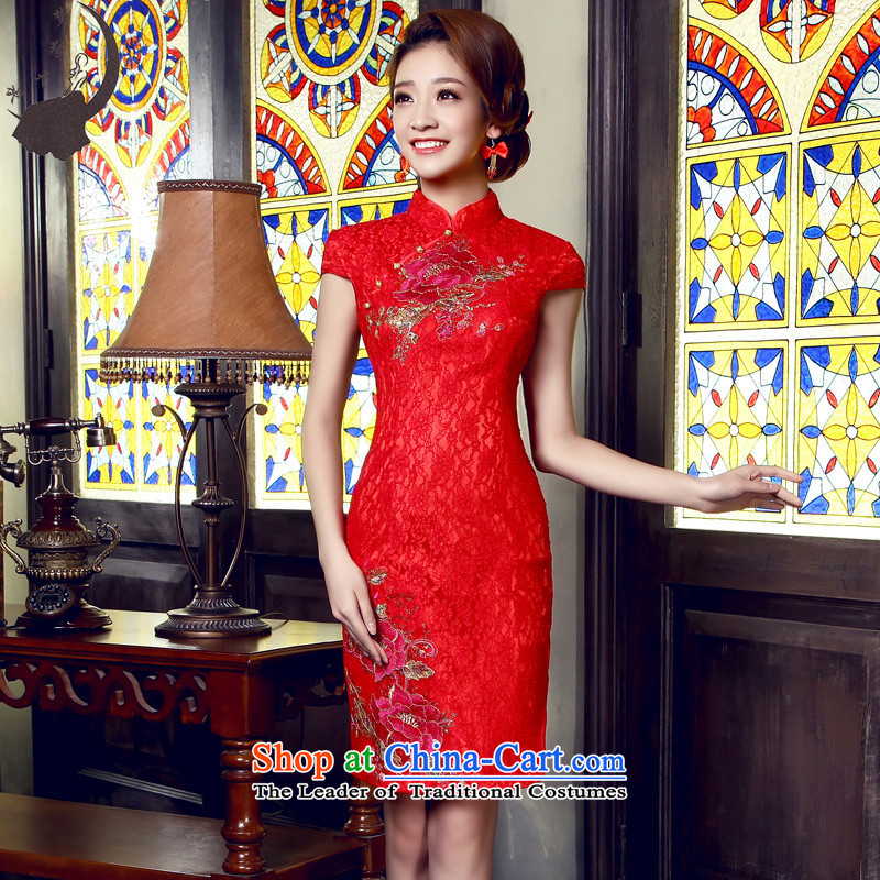 The leading edge of the days of the 2015 Chinese improved Fall_Winter Collections minimalist short of marriages to door cheongsam dress bows.5522 Red?L 2.1 foot waist