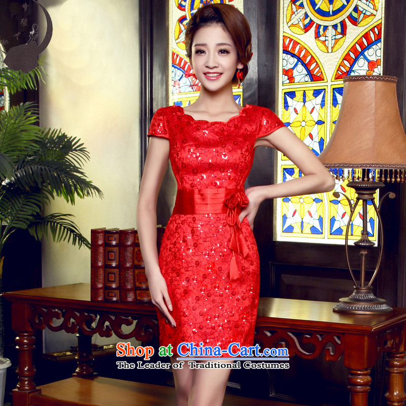 The leading edge of the days of qipao skirt bows services back door onto the wedding-dress Fall/Winter Collections improved new red short 20155523) Red L 2.1 foot waist