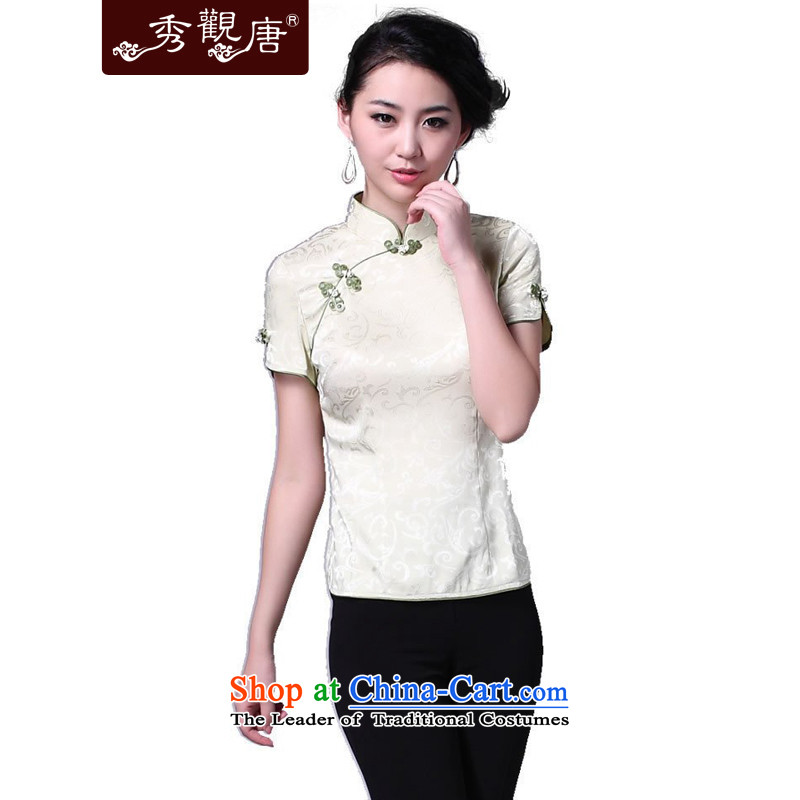 -Sau Kwun Tong- teapickers girl 2015 Classic Tang blouses_improvements to Tang dynasty Chinese president summer_two-color G162913 Army Green聽M