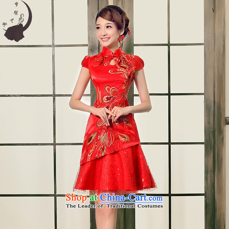 The leading edge of the days of the 2015 Fall_Winter Collections of improved short, short-sleeved clothing the lift mast bows cheongsam dress 8660燬 1.9 feet waistline red