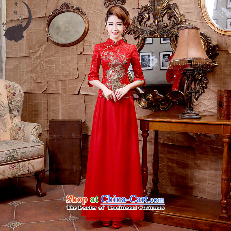 The leading edge of the days of the 2015 Fall_Winter Collections of seven cuff retro style qipao improved marriage Sau San U S dollars during the red燬 1.9 dress feet waist