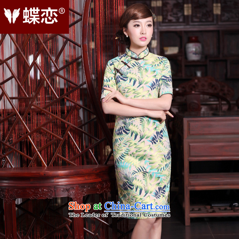 The Butterfly Lovers 2015 Summer new innovative products of Chinese national original wind female linen collar in the cuff is manually long stamp qipao 40156 light green XL