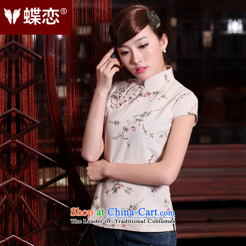 The Butterfly Lovers 2015 Summer new original female cotton linen short-sleeved manually detained improved qipao Tang blouses 40161 rose?L