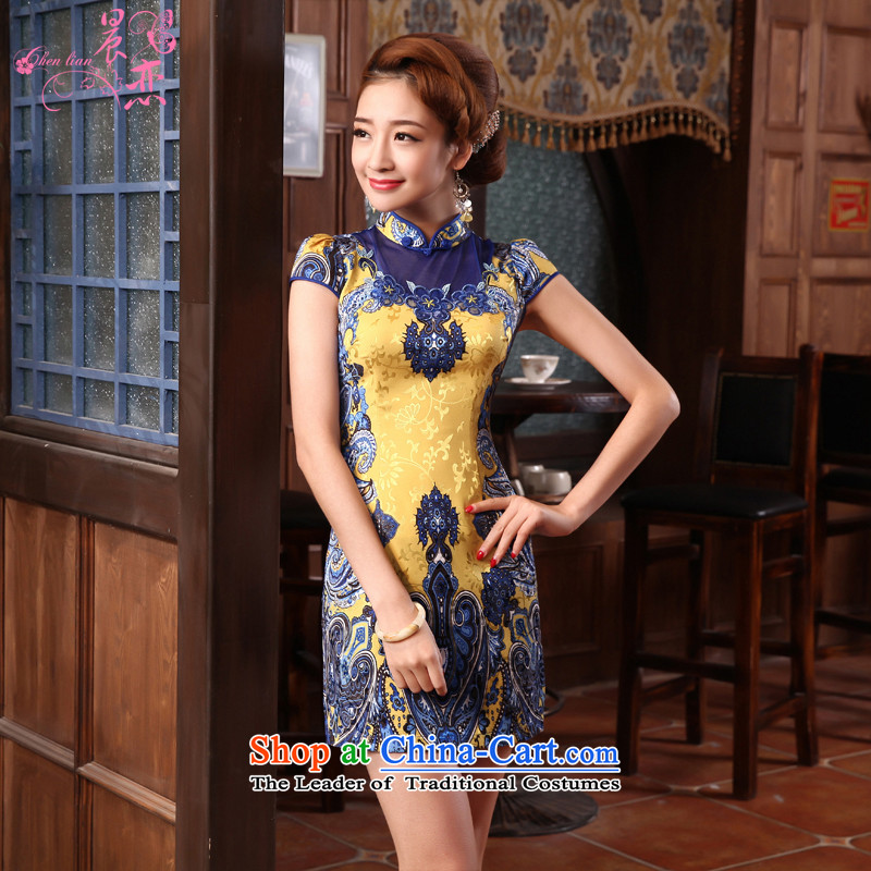 Land�14 New Morning Summer Stylish retro short of improved cheongsam dress Tang dynasty blue everyday recalls that the yellow and blue�5_S