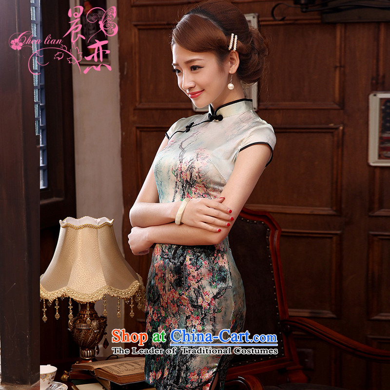 Morning land heavyweight silk cheongsam dress herbs extract upscale summer short, improved Stylish retro light green燤