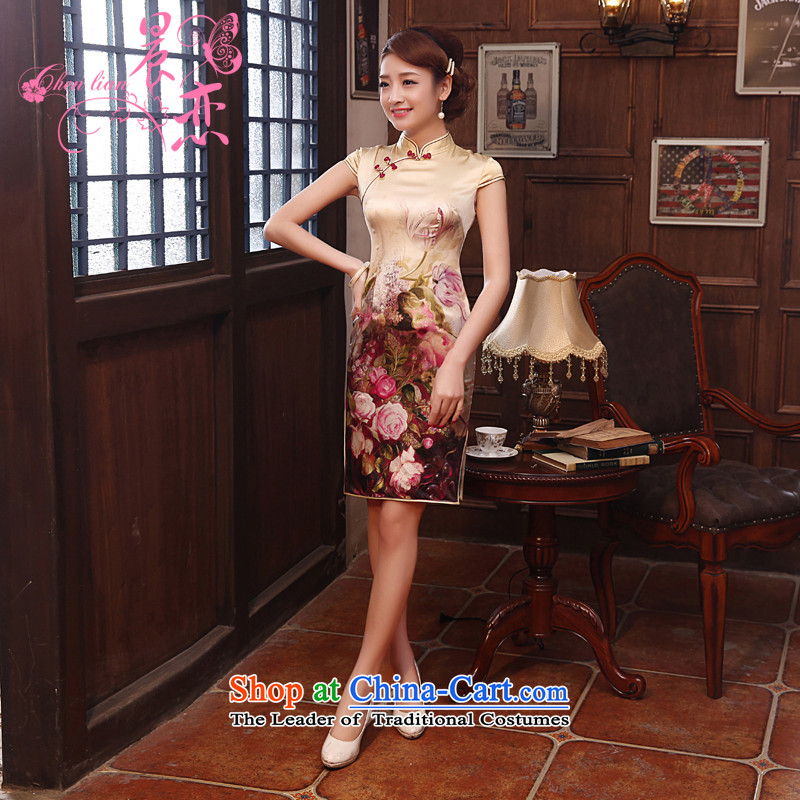 Morning new qipao land 2014 Summer retro short-sleeved improved stylish herbs extract heavyweight silk cheongsam dress pale yellow燤