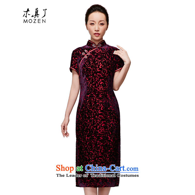 The 2015 Spring wood really new women's Chinese silk cheongsam dress suit in long elegant scouring pads fitted 21835 mother 16 Deep Violet XXXXL