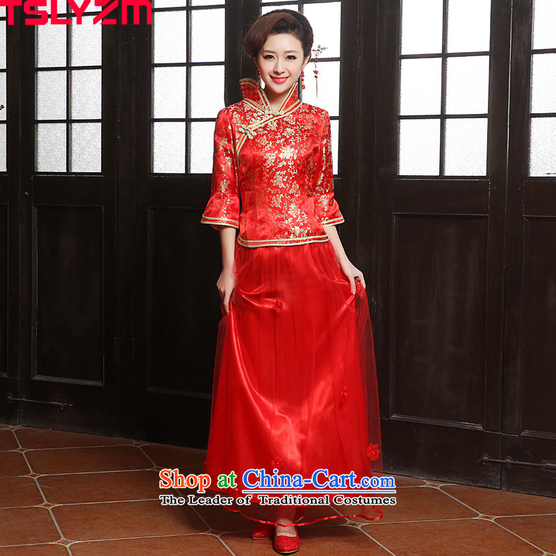 In the new bride tslyzm2015 replacing Fall_Winter Collections qipao bows services back to the door services-marriage ceremonies of nostalgia for the improvement of qipao skirt red red L
