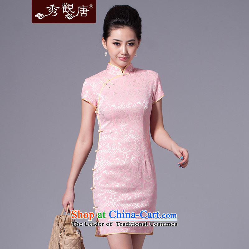 [Sau Kwun Tong] China 2015 classic retro qipao impression temperament cotton jacquard Sau San improved China wind daily cheongsam dress G33269 pink?L