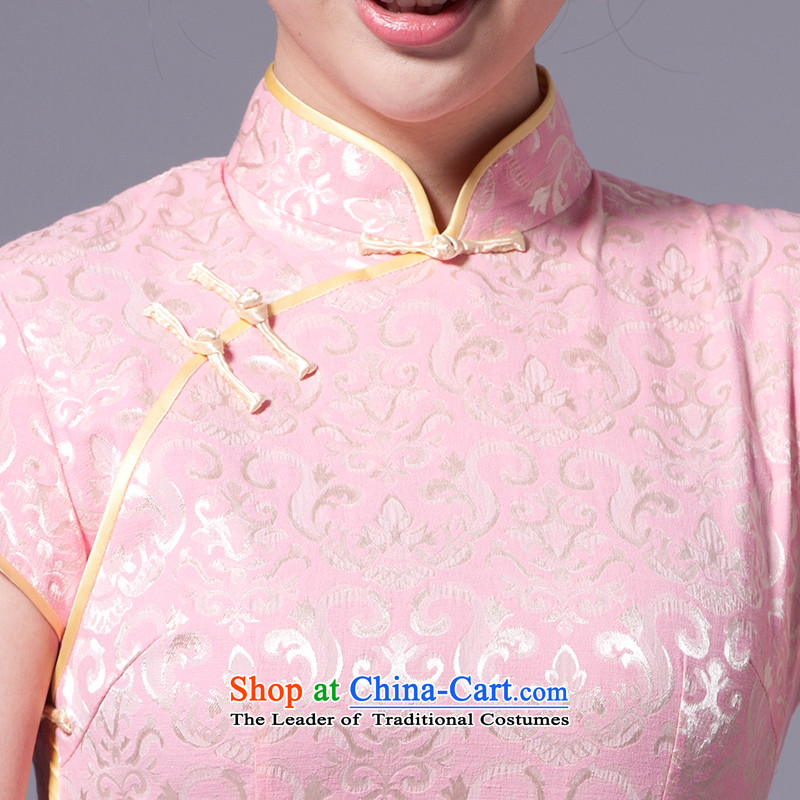 [Sau Kwun Tong] China 2015 classic retro qipao impression temperament cotton jacquard Sau San improved China wind daily cheongsam dress G33269 pink聽, L, Sau Kwun Tong shopping on the Internet has been pressed.