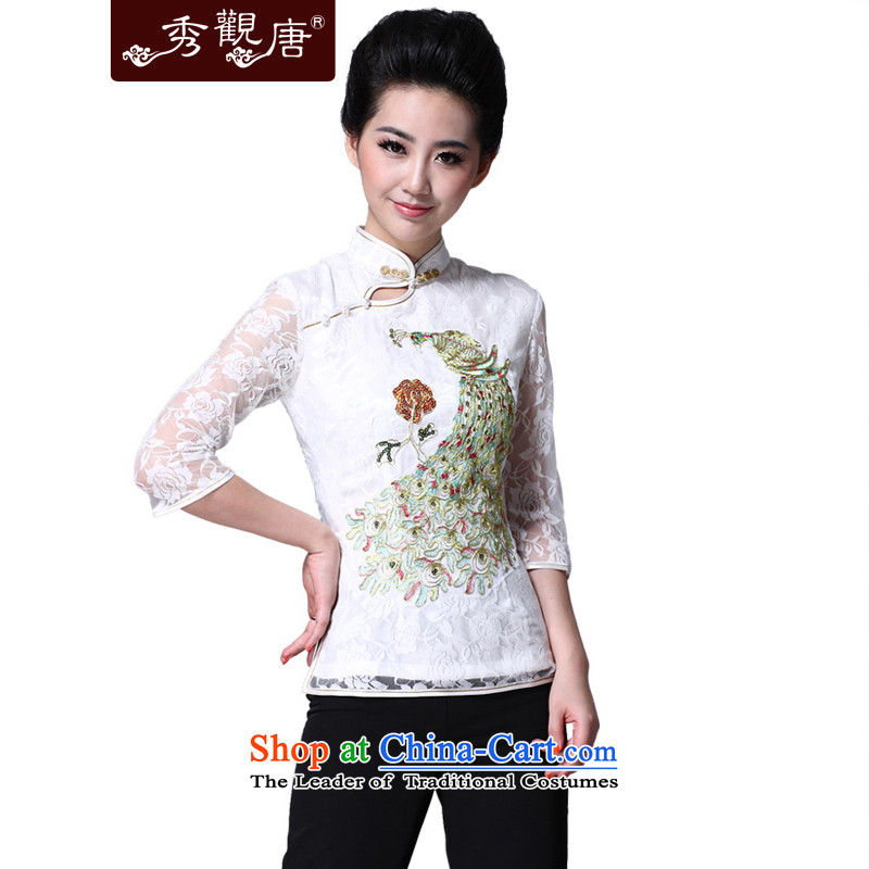 -Sau Kwun tong- the peacock China wind spring Ms. Tang in the Cuff lace Ms. ethnic Tang Blouses White聽XL
