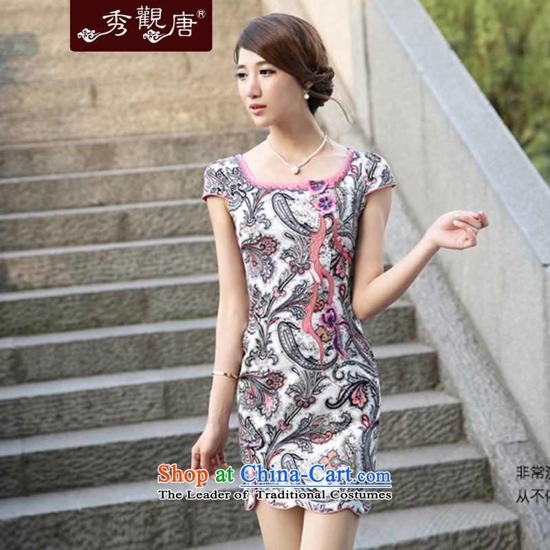 -Sau Kwun Tong- Dream Seon-hwa 2015 Summer stylish improved new qipao open women's dresses G13515 SAFFLOWER L