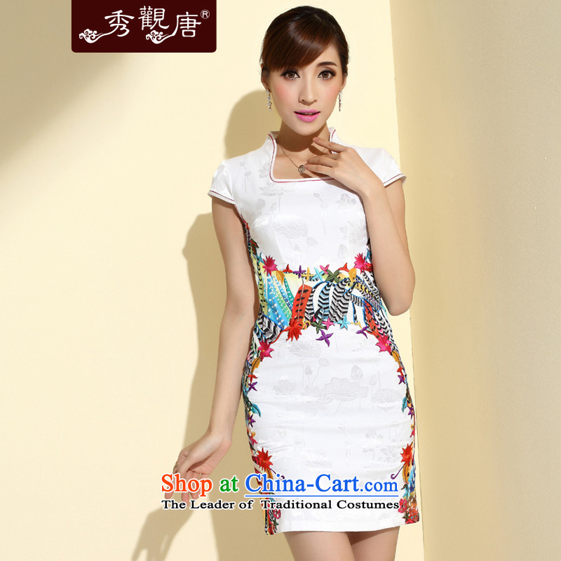 -Sau Kwun Tong- 7 Color Phoenix 2015 new improved stylish qipao summer short of the girl who decorated stitching embroidery cheongsam dress QD4129 White M