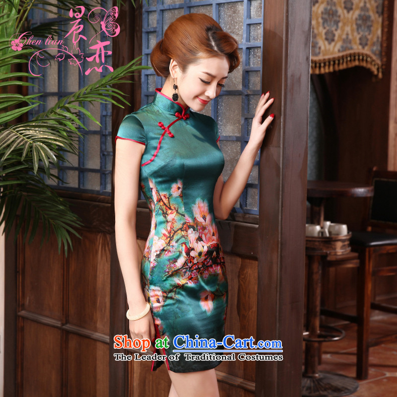 Morning new qipao land 2015 Summer retro short-sleeved improved stylish herbs extract heavyweight silk cheongsam dress elegant green?155/S