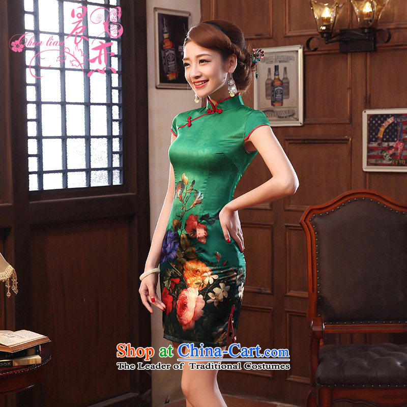 Morning new qipao land 2014 summer short of improvement and Stylish retro herbs extract silk cheongsam dress 2 Color Chinese green燣