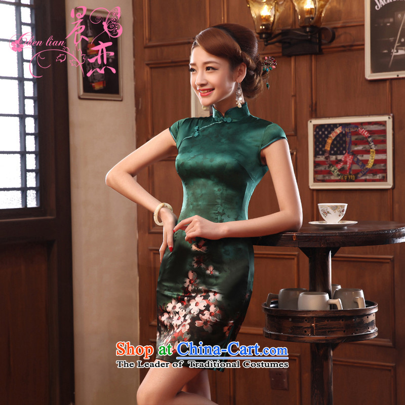 Morning new qipao land 2014 Summer retro short-sleeved improved stylish herbs extract heavyweight silk cheongsam dress two-color dark green燲L