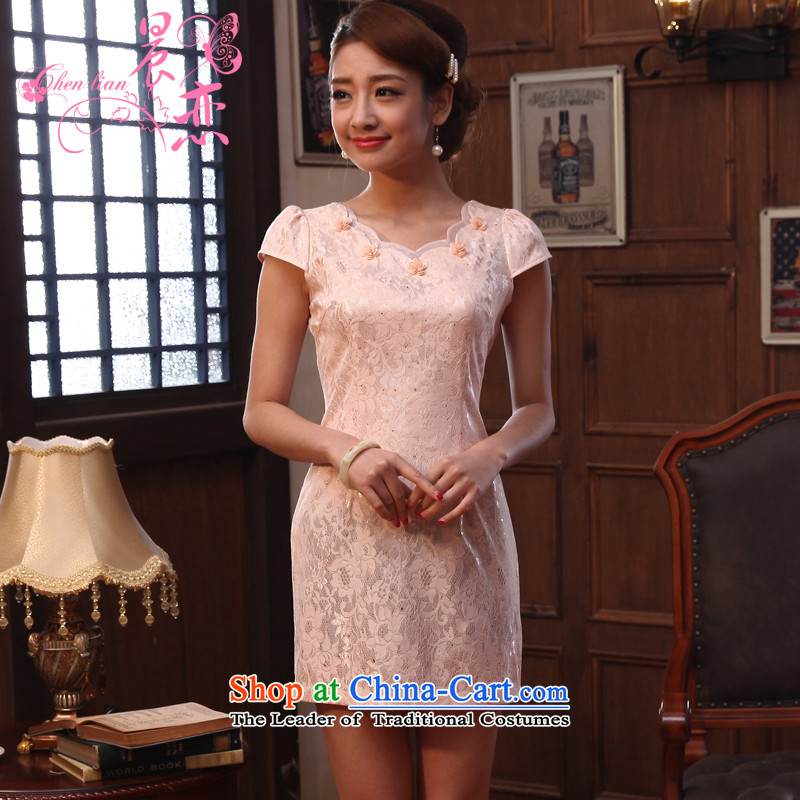 The land of the 2014 summer morning new improved Stylish retro short of cheongsam dress lace daily meat meat Pink Pink燣