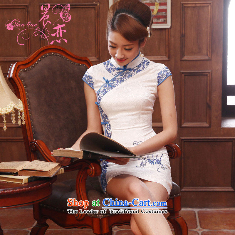 The land of the 2014 summer morning new Stylish retro short of improved cheongsam dress Chinese Daily Black White燤