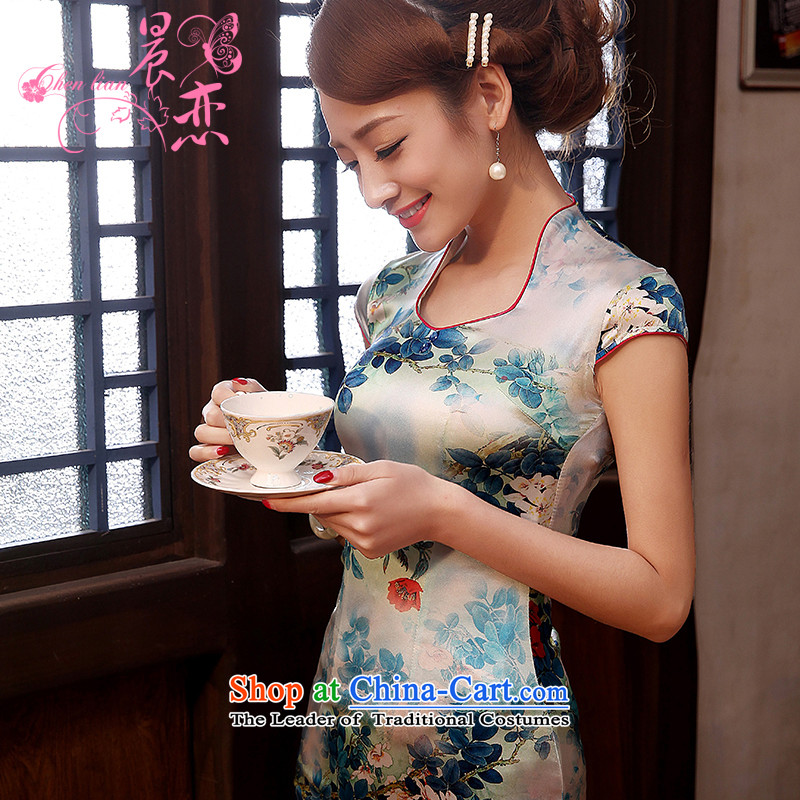 Morning new qipao land 2014 Summer retro improved stylish herbs extract heavyweight Silk Cheongsam Dress Short of blue light green XXL