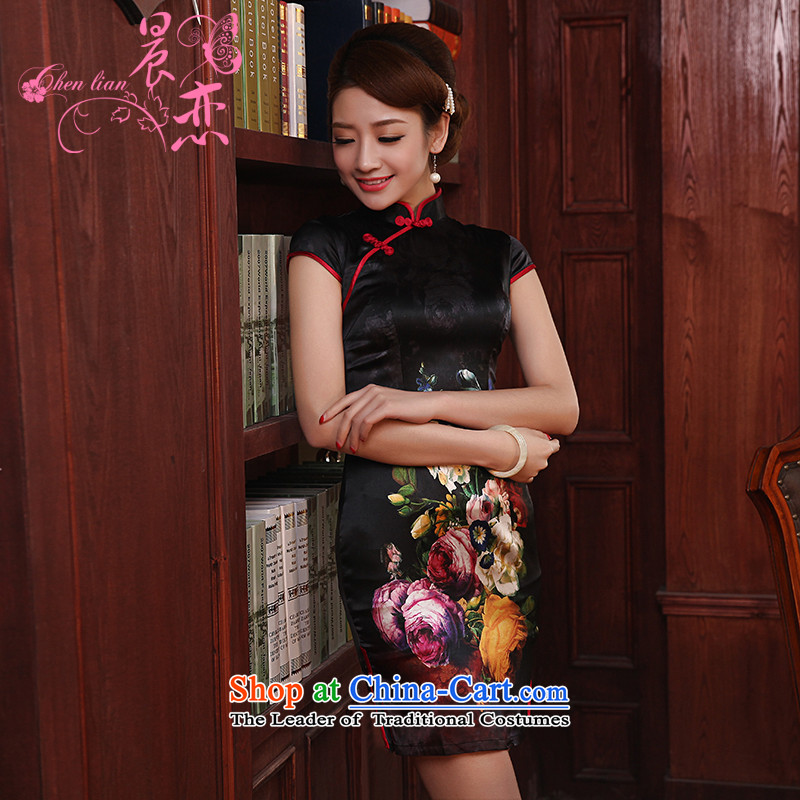 Morning new qipao land 2014 Summer retro short-sleeved improved stylish herbs extract heavyweight silk cheongsam dress Ling Ya�5_S black