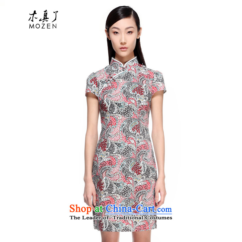 Wooden spring and summer of 2015 really new dresses Chinese Antique Ladies bags qipao stamp short mail 11439 01 Black XL