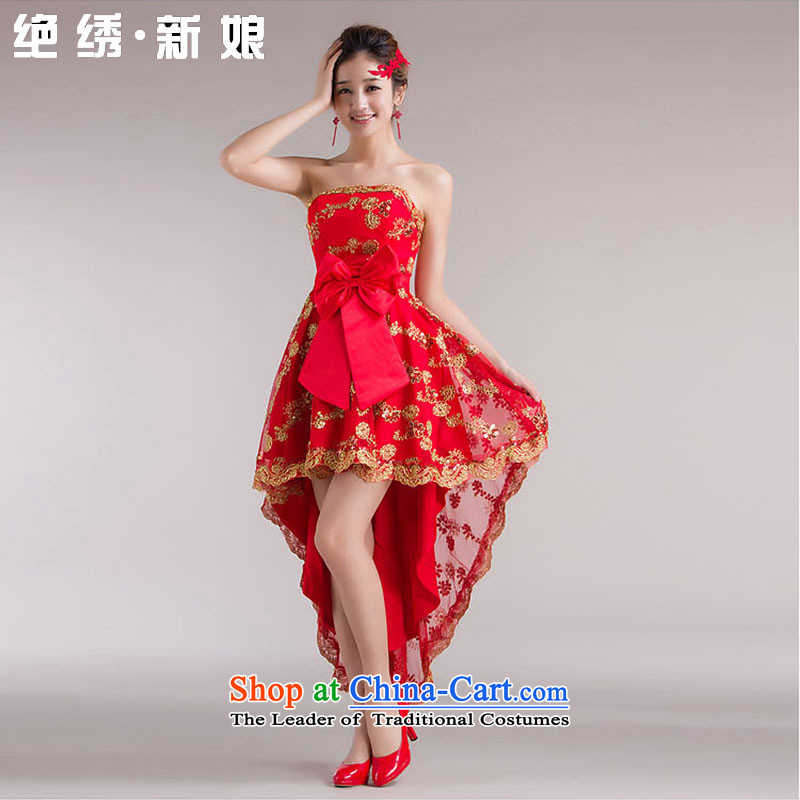 No爊ew bride embroidered 2015 front stub qipao gown red long after the bride wedding services marriages service bows straps_燬燬uzhou Shipment