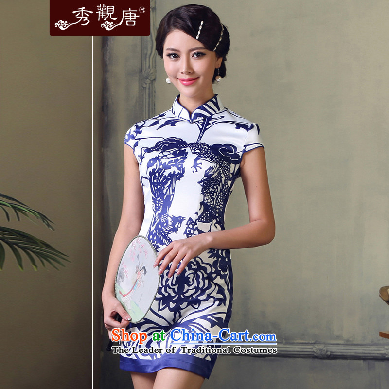[Sau Kwun Tong] porcelain arts 2014 Summer retro qipao daily sexy beauty China wind cheongsam dress G611512 picture color?M