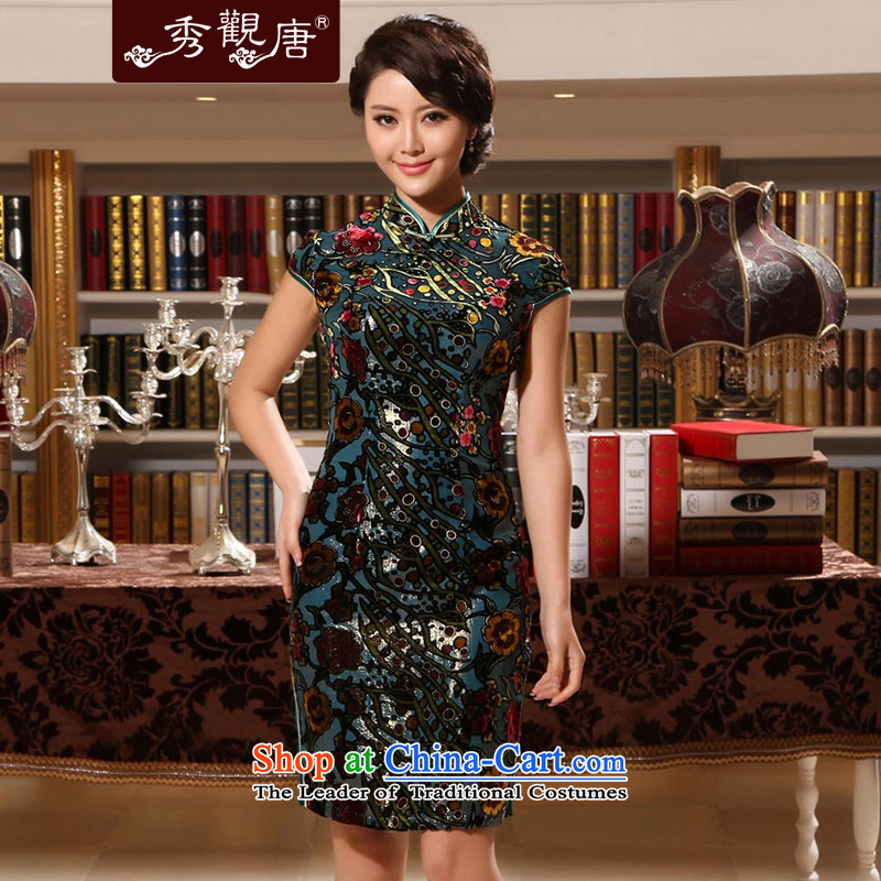 [Sau Kwun Tong] Kim Chi-yuk Mr elegance upscale Silk Cheongsam retro summer herbs extract cheongsam dress G13869 picture color?XXL