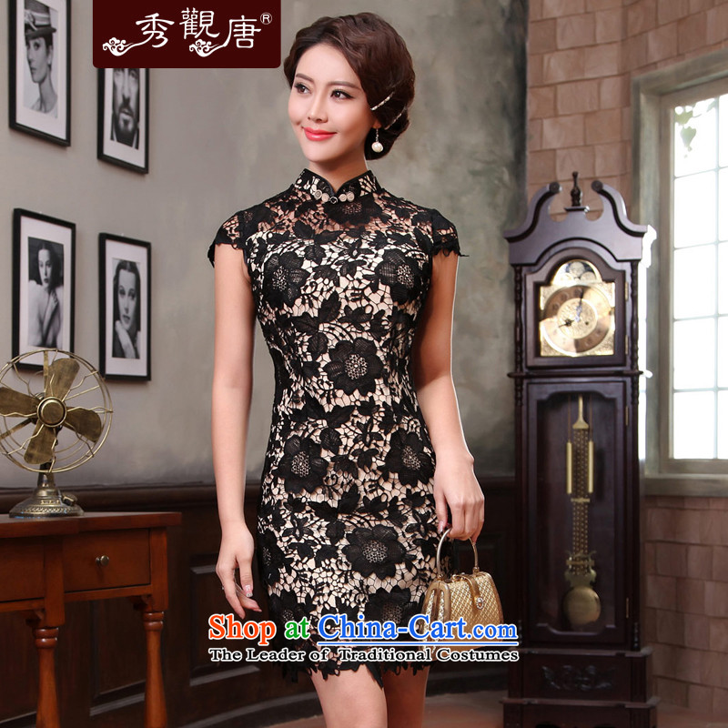[Sau Kwun Tong] Temptations 2015 Summer black lace qipao improved Couture fashion antique dresses G13421 black?L