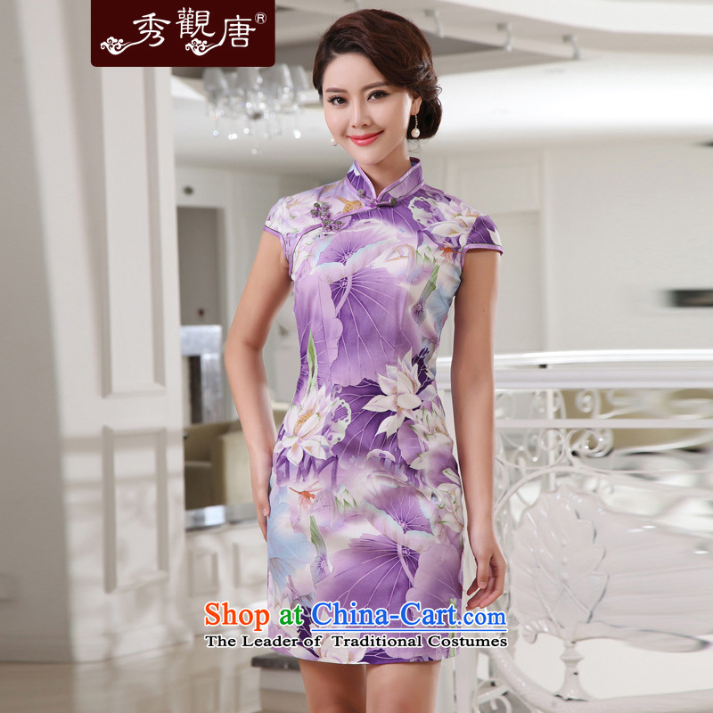 [Sau Kwun Tong] lotus pond of sexy beauty qipao retro style for summer 2015 new cotton cheongsam dress G13881 PURPLE?S