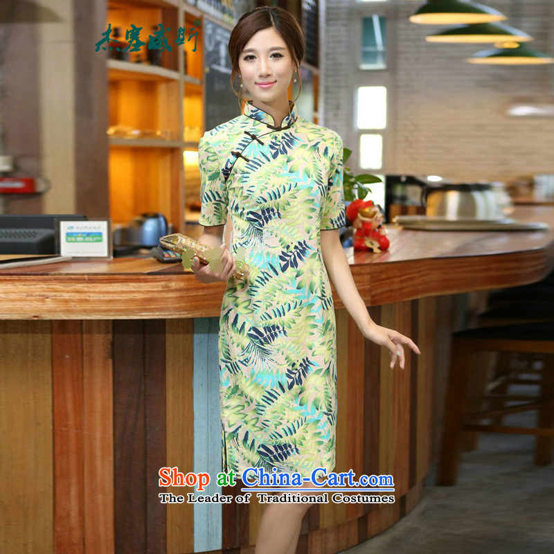 In Wisconsin,?2015 Jie spring and summer China wind-cotton linen leaves take a mock-neck and knee in manual long qipao?CQM648?shade Mock-neck?XXL