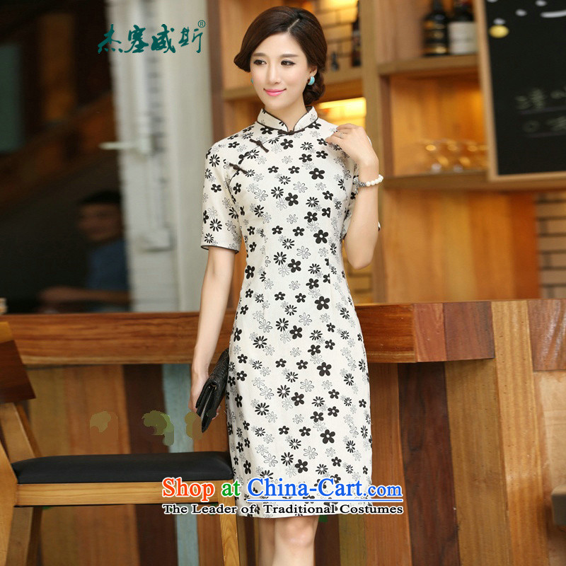 In Wisconsin, 2015 Jie spring and summer new products with China wind cotton linen collar manually deduction cherry blossoms in long dresses qipao CJZ396 figure L