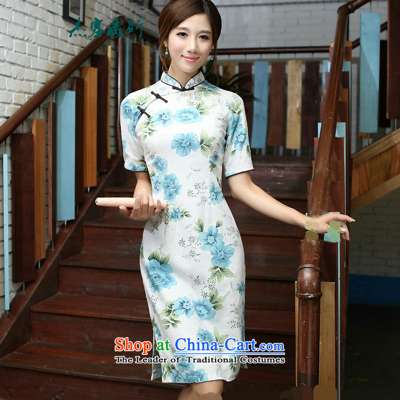 In Wisconsin,?2015 Jie spring and summer new products of ethnic Mock-neck Sau San is manually long improved stylish cotton linen dresses qipao?COL544?blue collar Mudan?XL