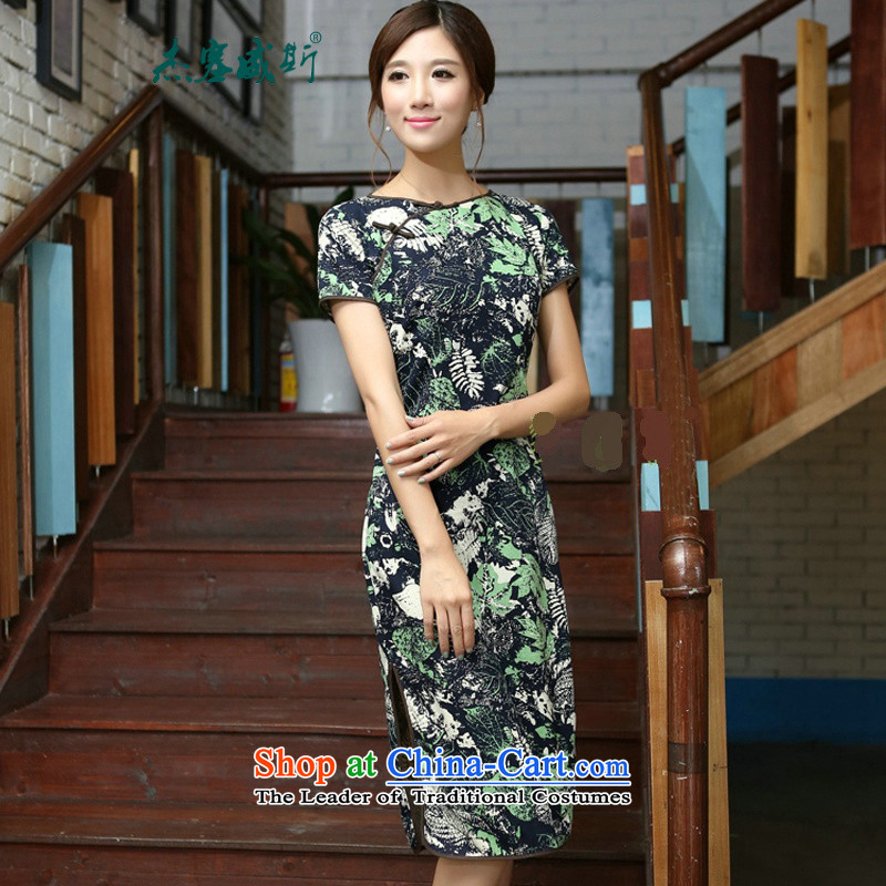 In Wisconsin, 2015 Jie spring and summer New China wind-cotton linen flowers and leaves round-neck collar and knee in manual long skirt qipao CMA408 figure XL