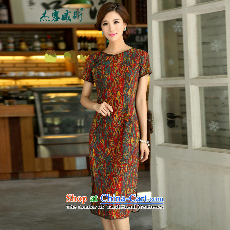 In Wisconsin,聽2015 Jie spring and summer female national long neck tie in Sau San manually long improved linen dresses qipao聽CJY397聽figure聽M
