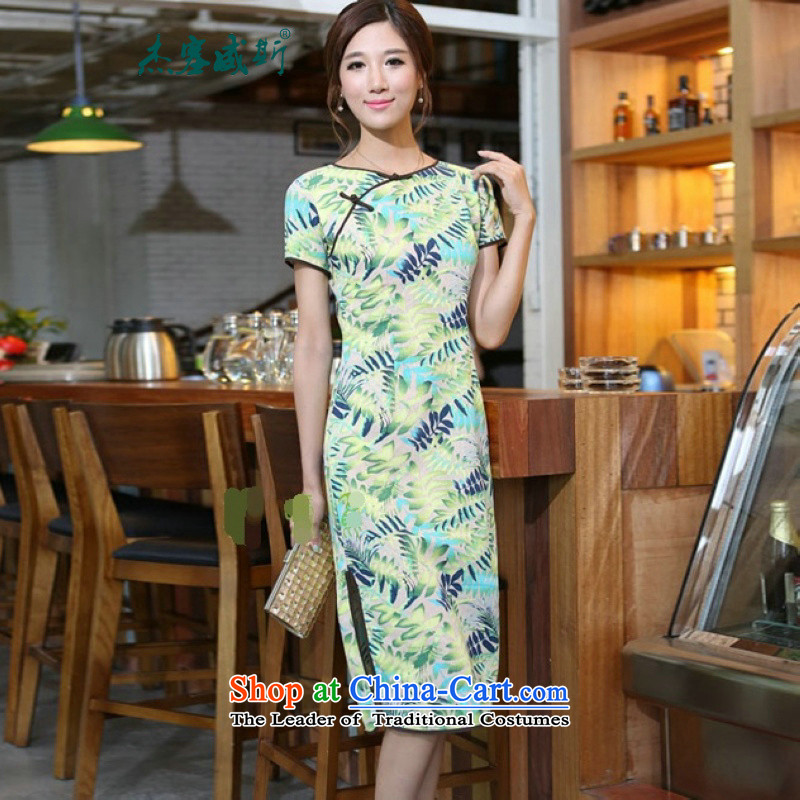 In Wisconsin,聽2015 Jie spring and summer new women's China wind cotton linen leaves take round-neck collar and knee in manual long skirt qipao CNU581 figure聽M