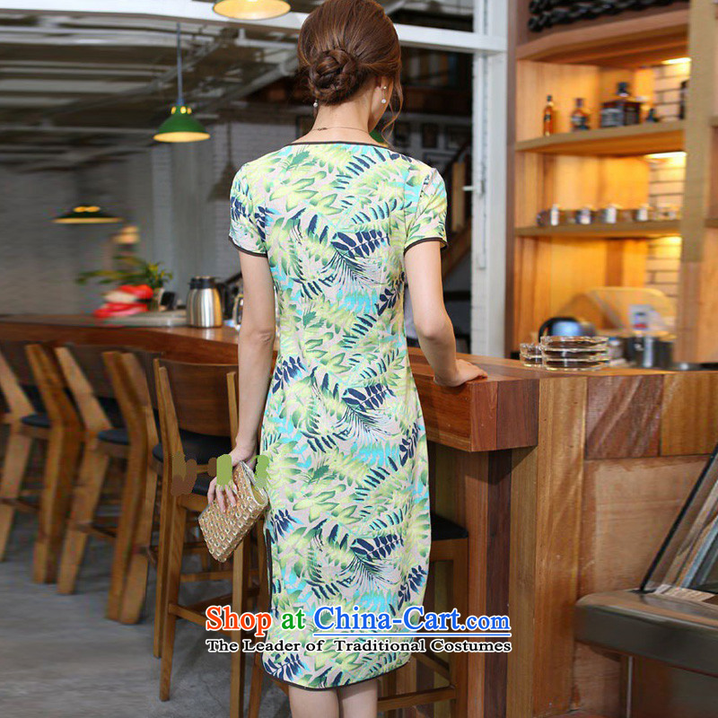 In Wisconsin,聽2015 Jie spring and summer new women's China wind cotton linen leaves take round-neck collar and knee in manual long skirt qipao CNU581 figure聽in Wiesbaden, Cheng Kejie M , , , shopping on the Internet
