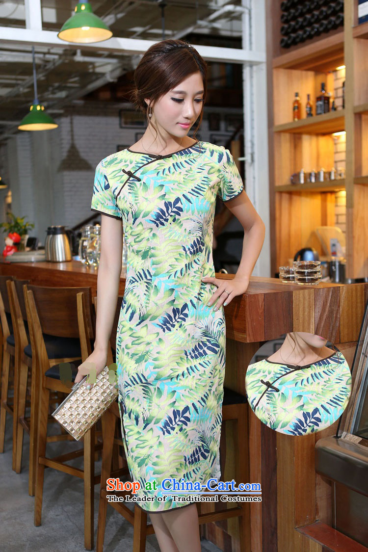 In Wisconsin,聽2015 Jie spring and summer new women's China wind cotton linen leaves take round-neck collar and knee in manual long skirt qipao CNU581 figure聽M picture, prices, brand platters! The elections are supplied in the national character of distribution, so action, buy now enjoy more preferential! As soon as possible.