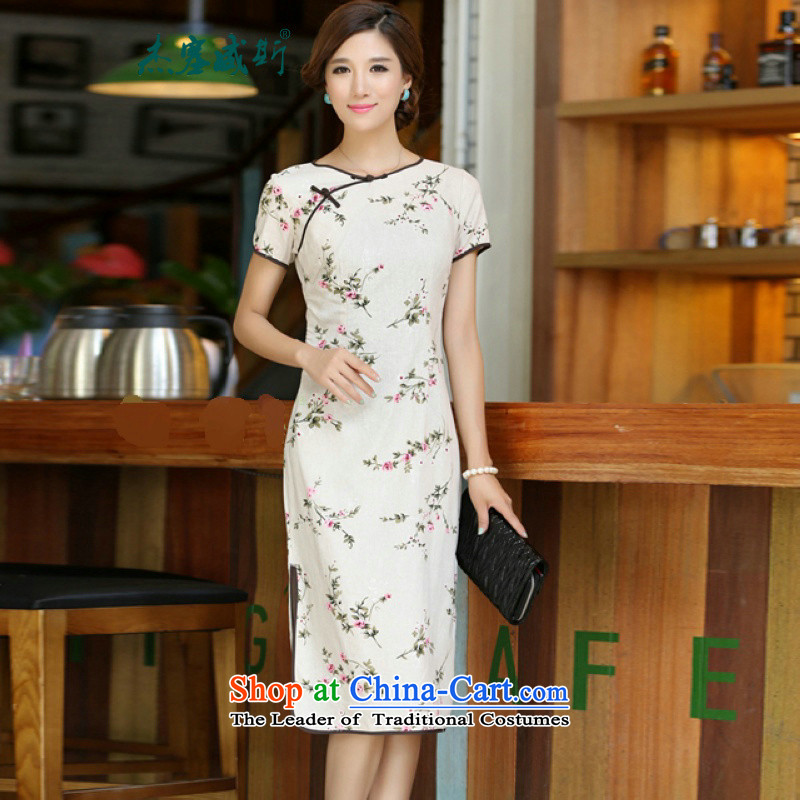 In Wisconsin,聽2015 Jie spring and summer new women's national round-neck collar in long hand tie improved stylish Sau San linen dresses qipao聽CKK438聽figure聽S