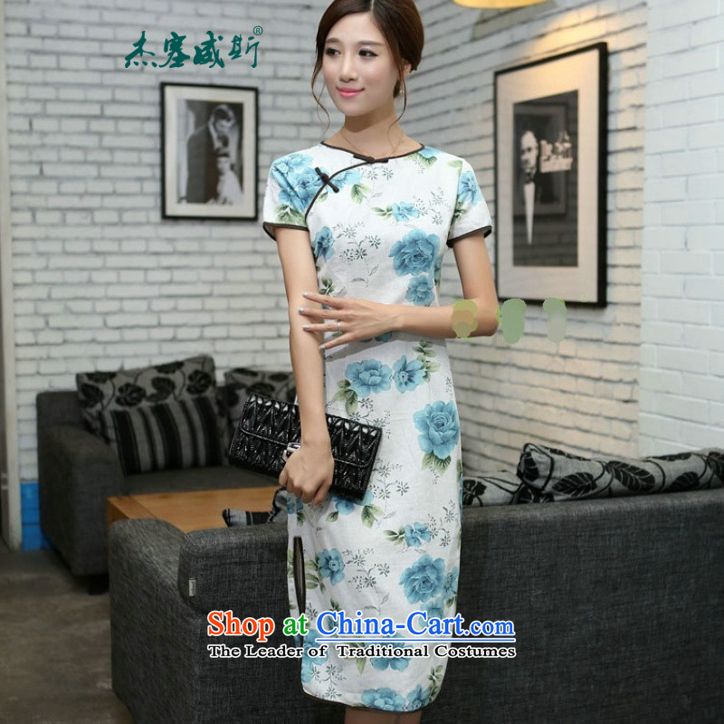 In Wisconsin,聽2015 Jie spring and summer new women's national wind round-neck collar is manually Sau San long improved linen dresses qipao聽CUZ897聽figure聽M