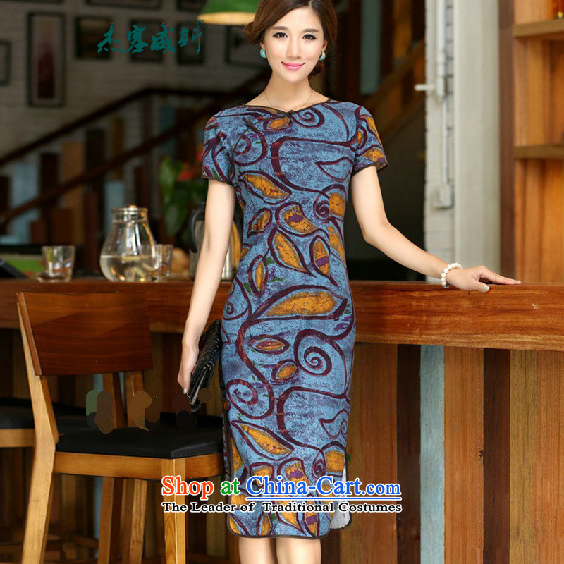 In Wisconsin,?2015 Jie spring and summer new women's national round-neck collar in long hand tie improved stylish Sau San linen dresses qipao?CCI139?figure?L