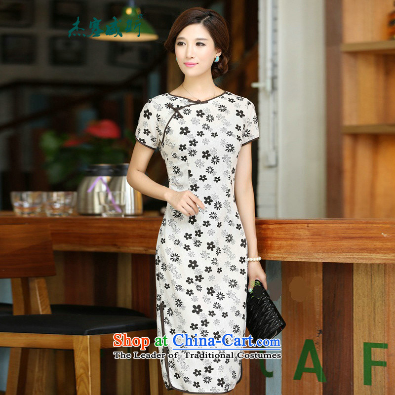 In Wisconsin,聽2015 Jie spring and summer flowers to women's neck tie in Sau San manually long improved linen dresses qipao聽CHD213聽figure聽S