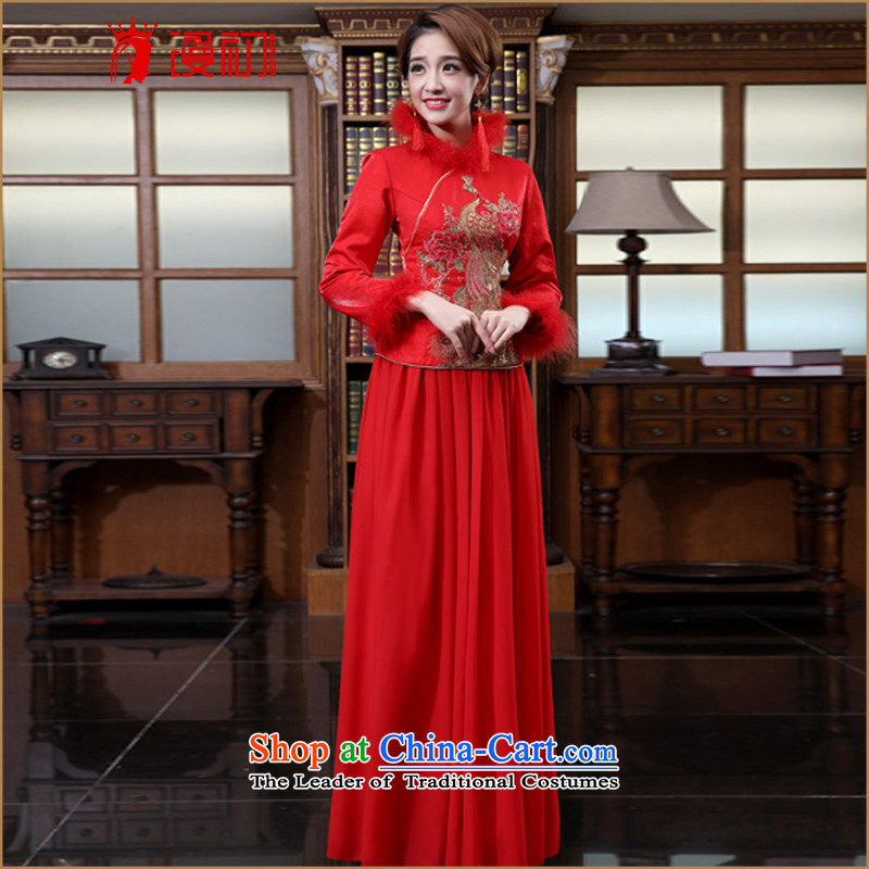 In the early 2015 new definition of Qipao Stylish retro toasting champagne red qipao improved services marriages long kit qipao winter_ qipao?L