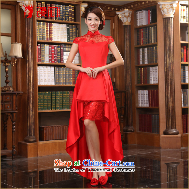 In the early 2015 new man improved stylish wedding dresses bridal dresses front stub long after stylish long red qipao?L