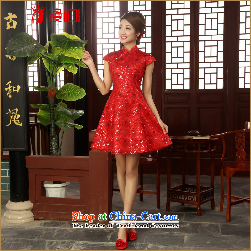 In the early 2015 new man lace on chip short qipao bride improved bows red lace qipao red燬